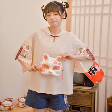 Modakawa Bottoms Lucky Cat Embroidery Ears Bell Hooded T-Shirt Overall Shorts