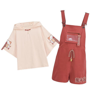 Modakawa Bottoms Lucky Cat Embroidery Ears Bell Hooded T-Shirt Overall Shorts Set