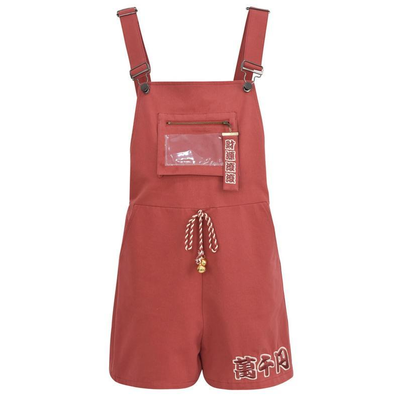 Modakawa Bottoms Red / S Lucky Cat Embroidery Ears Bell Hooded T-Shirt Overall Shorts