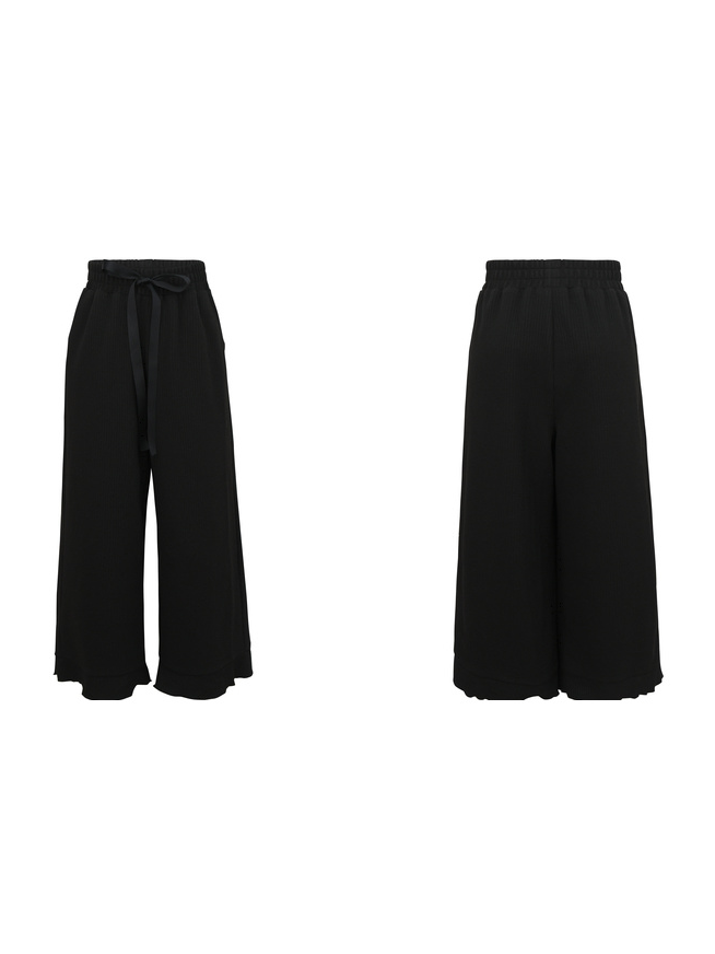 Modakawa Bottoms S / Black High-Rise Wide-Leg Straight Pants