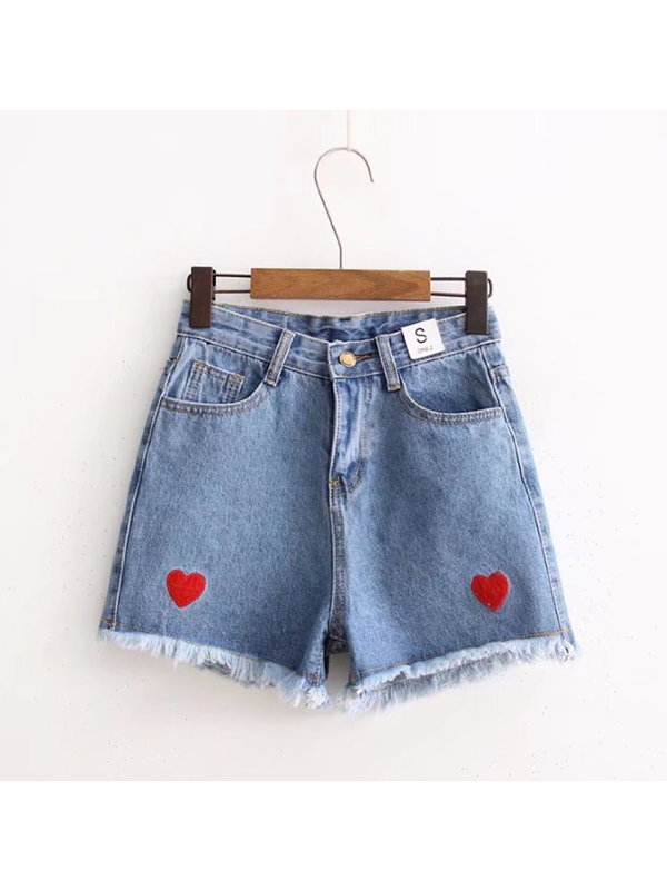 Modakawa Bottoms S / Dark Blue Love Heart Embroidery Denim Shorts
