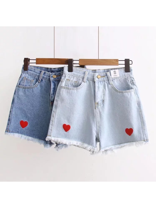 Modakawa Bottoms S / Light Blue Love Heart Embroidery Denim Shorts