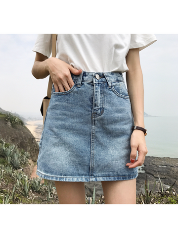 Modakawa Bottoms S Pure Color Culottes Denim Skirt