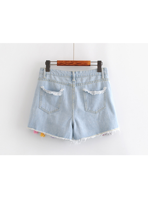 Modakawa Bottoms S Tassel Summer Denim Cotton Shorts