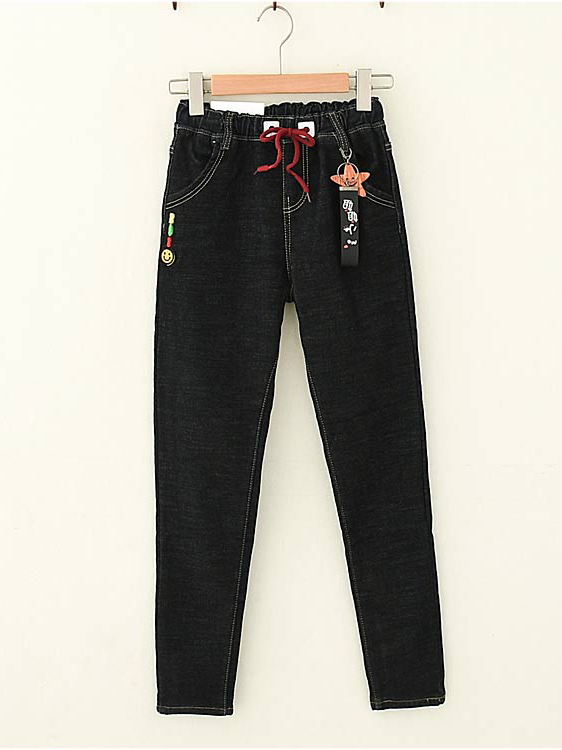 Modakawa Bottoms Star Elasticized Waistband Plush Winter Jeans
