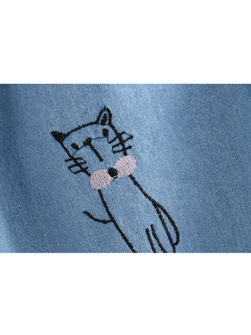 Modakawa Bottoms Vintage Cat  Embroidery Denim Skirt