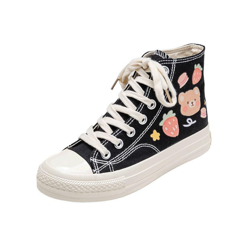 Modakawa Canvas Shoes Black / 35 Cartoon Bear Print Colorful High Top Canvas Shoes