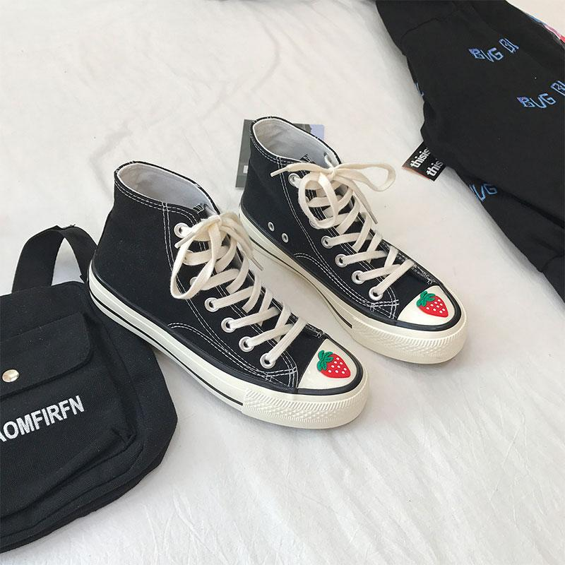 Modakawa Canvas Shoes Black / 35 Strawberry High Top Canvas Shoes