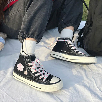 Modakawa Canvas Shoes Black / High Top / 35 Sakura High Top Canvas Shoes