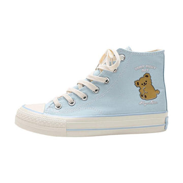Modakawa Canvas Shoes Blue / 35 Cartoon Bear Print High Top Canvas Shoes