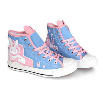 Modakawa Canvas Shoes Blue / 36 Overwatch Game DVA Bunny High Top Canvas Shoes