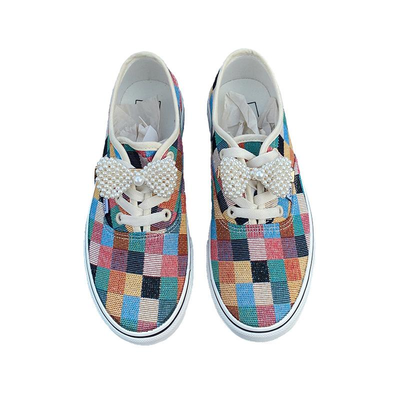 Modakawa Canvas Shoes Candy Color / 35 Candy Color Plaid Pearl Bow Canvas Shoes