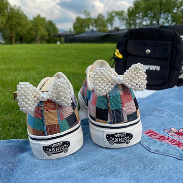 Modakawa Canvas Shoes Candy Color Plaid Pearl Bow Canvas Shoes