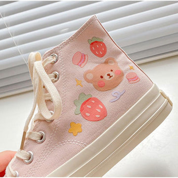 Modakawa Canvas Shoes Cartoon Bear Colorful High Top Canvas Shoes