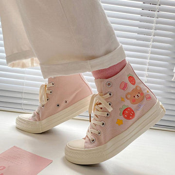 Modakawa Canvas Shoes Cartoon Bear Print Colorful High Top Canvas Shoes