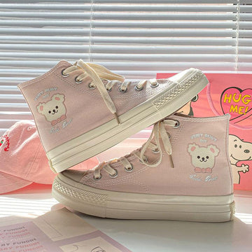Modakawa Canvas Shoes Cartoon Bear Print High Top Canvas Shoes