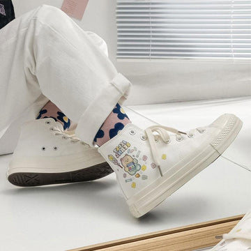 Modakawa Canvas Shoes Cartoon Colorful Bear JELLY BEANS Print High Top Canvas Shoes