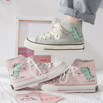 Modakawa Canvas Shoes Cartoon Dinosaur Print High Top Canvas Shoes