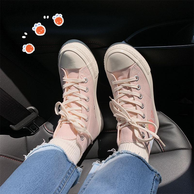 Modakawa Canvas Shoes Cartoon Milk Strawberry Print High Top Canvas Shoes