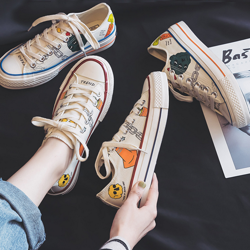 Modakawa Canvas Shoes Cartoon Print Causal Canvas Shoes