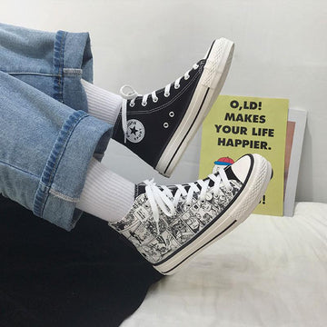 Modakawa Canvas Shoes Cartoon Vintage Color Block High Top Canvas Shoes