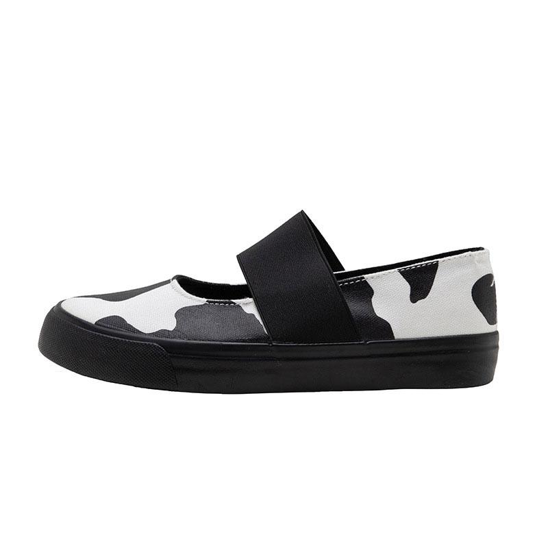 Modakawa Canvas Shoes Casual Cow Colorblock Low Top Canvas Shoes