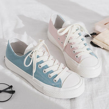 Modakawa Canvas Shoes Color Block Low Top Canvas Shoes School Girl