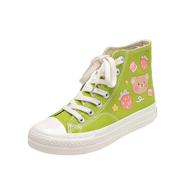 Modakawa Canvas Shoes Green / 35 Cartoon Bear Print Colorful High Top Canvas Shoes