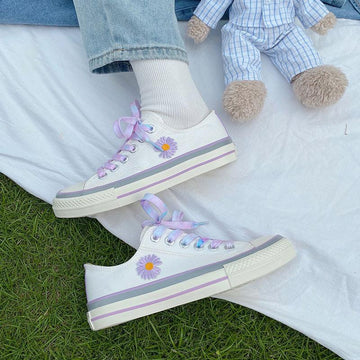 Modakawa Canvas Shoes Little Daisy Low Top Canvas Shoes
