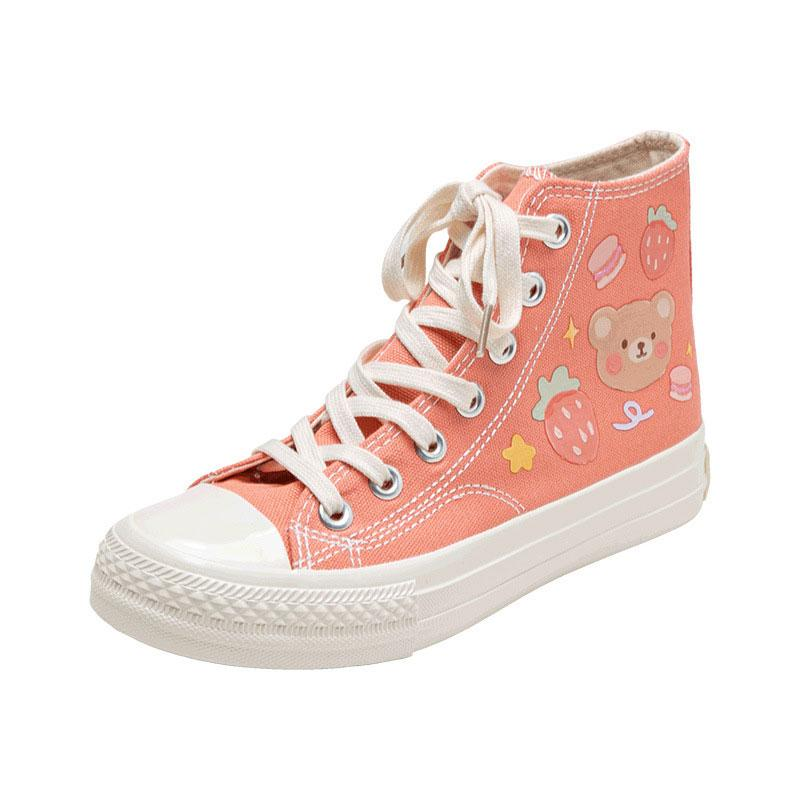 Modakawa Canvas Shoes Orange / 35 Cartoon Bear Colorful High Top Canvas Shoes