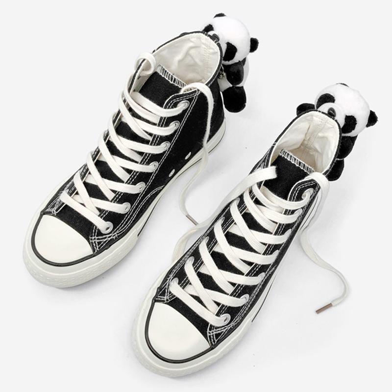 Modakawa Canvas Shoes Panda Doll High Top Canvas Shoes