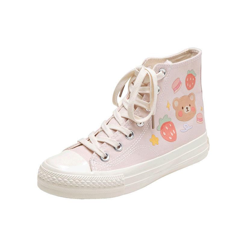 Modakawa Canvas Shoes Pink / 35 Cartoon Bear Colorful High Top Canvas Shoes