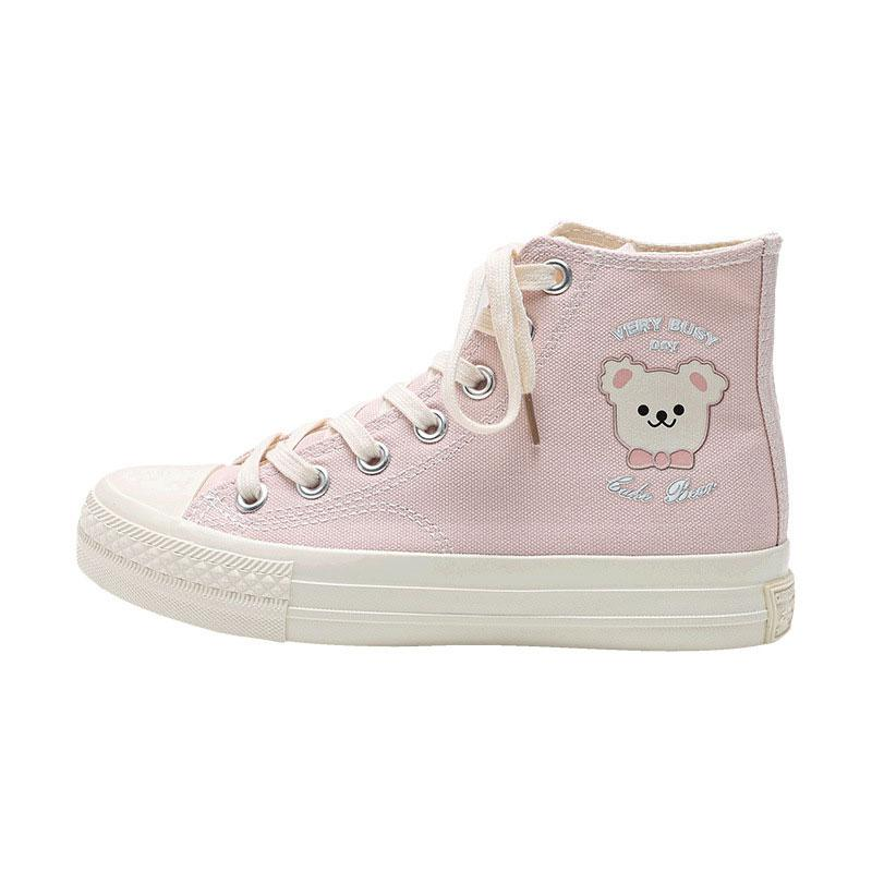 Modakawa Canvas Shoes Pink / 35 Cartoon Bear Print High Top Canvas Shoes