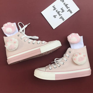 Modakawa Canvas Shoes Pink / 35 Japanese Cute Cat High Top Canvas Shoes