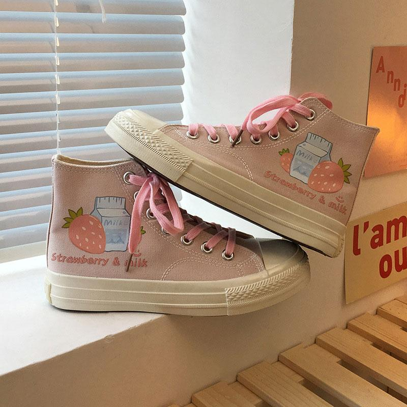 Modakawa Canvas Shoes Pink Shoelace / 35 Cartoon Milk Strawberry Print High Top Canvas Shoes