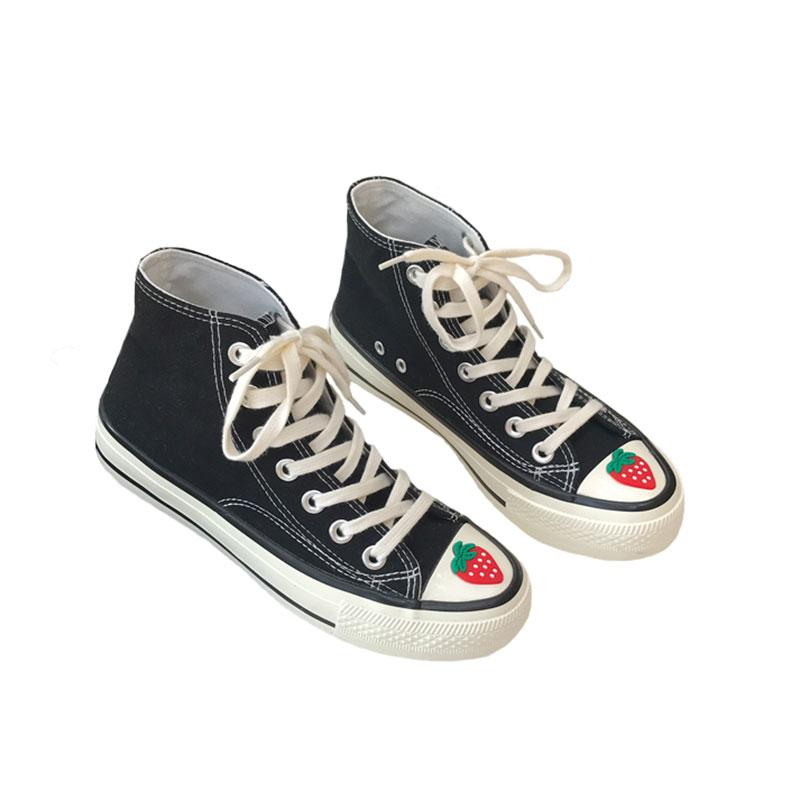 Modakawa Canvas Shoes Strawberry High Top Canvas Shoes