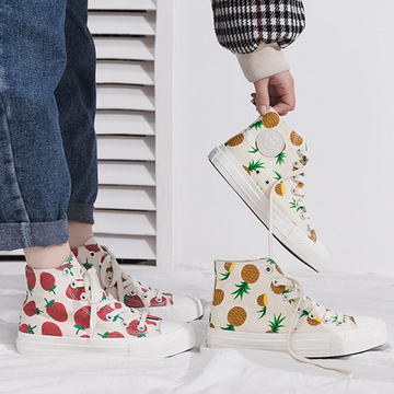 Modakawa Canvas Shoes Strawberry Pineapple Print High Top Casual Shoes