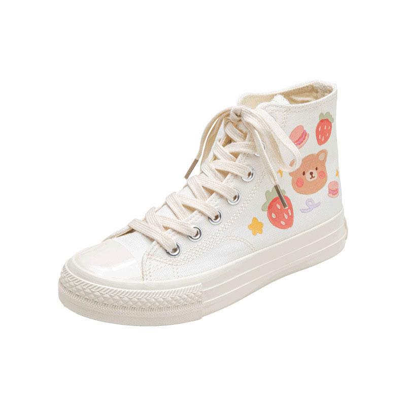 Modakawa Canvas Shoes White / 35 Cartoon Bear Print Colorful High Top Canvas Shoes