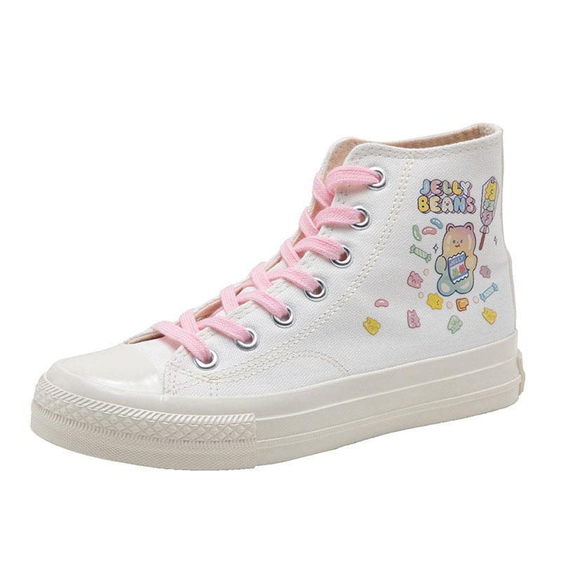 Modakawa Canvas Shoes White / 35 Cartoon Colorful Bear JELLY BEANS Print High Top Canvas Shoes