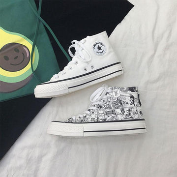 Modakawa Canvas Shoes White / 35 Cartoon Vintage Color Block High Top Canvas Shoes