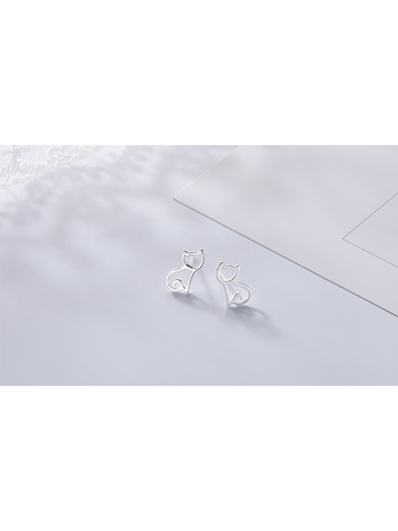 Modakawa Cat 925 Sterling Silver Stud Earrings