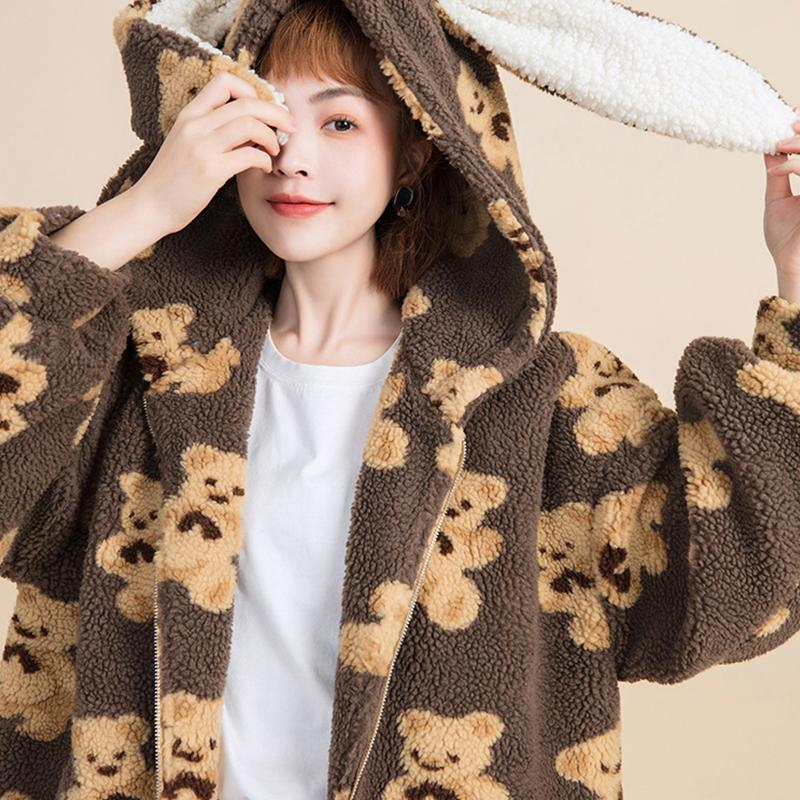 Modakawa Coat Bear Bunny Ears Plush Hooded Coat