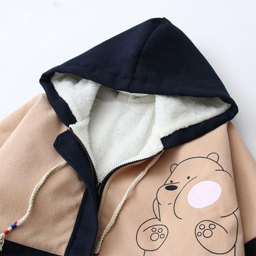 Modakawa Coat Bear Print Color Block Hooded Coat