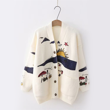 Modakawa Coat Beige Cartoon Beach Print Cardigan Sweater