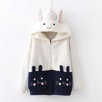 Modakawa Coat Beige / One Size Cat Embroidery Pocket Ears Winter Hooded Coat Inner Fleece