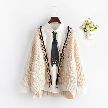 Modakawa Coat Beige / One Size Open Front Tassel Knit Cardigan Sweater Coat