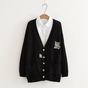 Modakawa Coat Black Japanese Cartoon Fox Embroidery Cardigan Coat