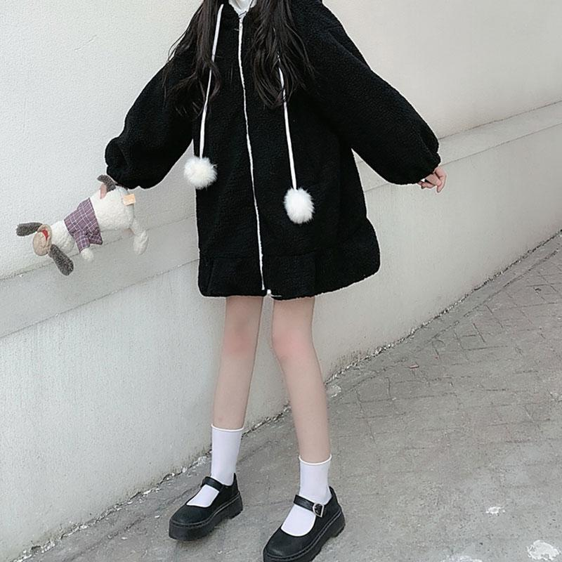 Modakawa Coat Black / One Size Bunny Ears Fuzzy Ball Plush Hooded Coat