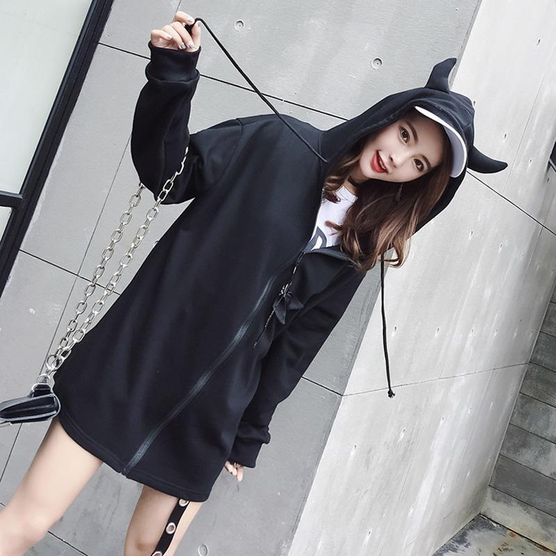 Modakawa Coat Black / One Size Kawaii Devil Horn Hooded Coat