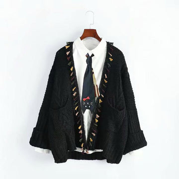 Modakawa Coat Black / One Size Open Front Tassel Knit Cardigan Sweater Coat